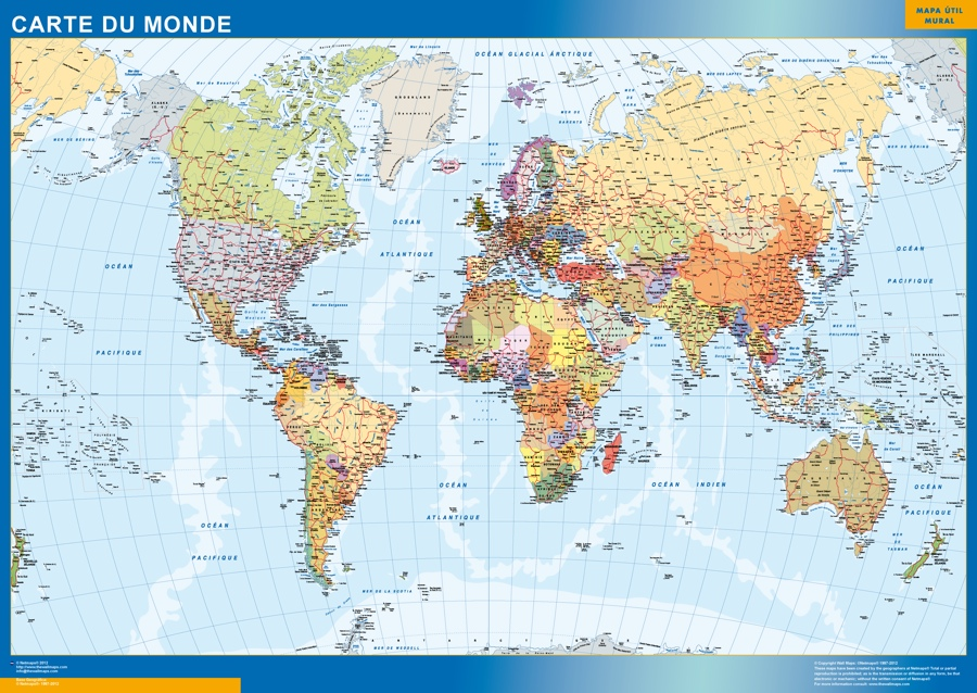 mapa del mundo frances