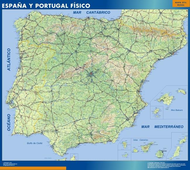 mapa espana fisico