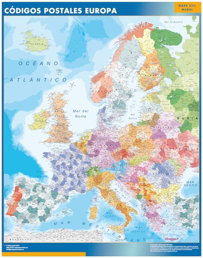 mapa europa codigos postales